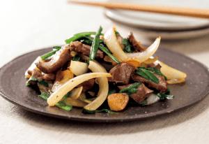 【狭窄症対策レシピ】タマネギと豚ハツのニンニク炒め